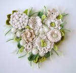 crochet heart cashmere corsage