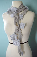 Crochet snowflake Lariat scarf by meekssandygirl