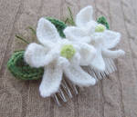 Crochet White Orchid Hair Comb