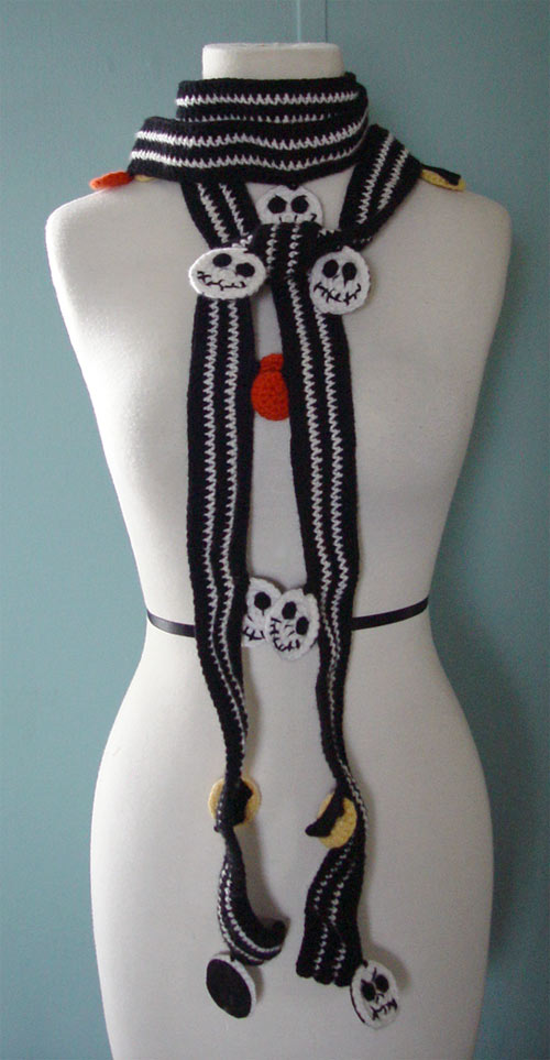 Crochet Jack Skellington : crochet jack skellington scarf by meekssandygirl on DeviantArt