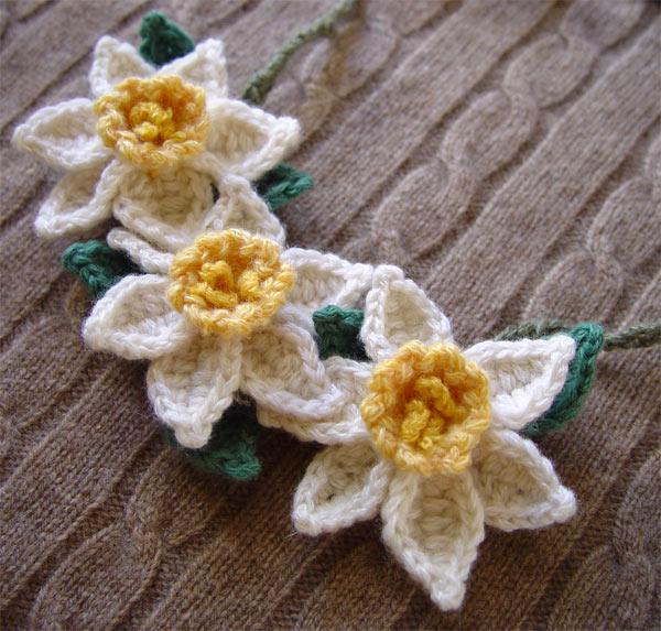 Free Crochet Daffodil Flower Pattern : Crochet yellow white daffodils by meekssandygirl on DeviantArt