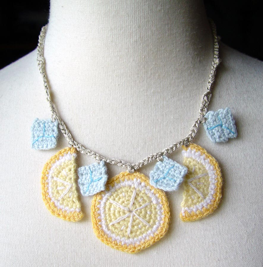 Crochet Necklace Lemonade by meekssandygirl