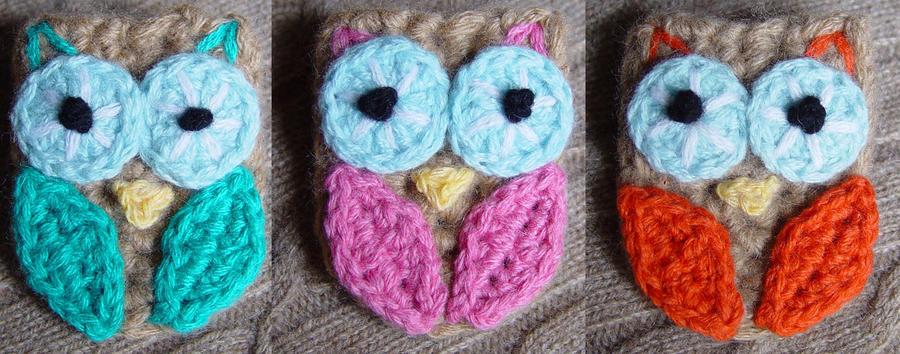 3 Crochet Owl Pins by meekssandygirl
