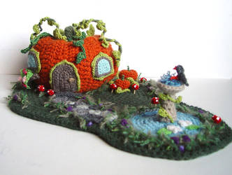 Crochet Pumpkin House by meekssandygirl