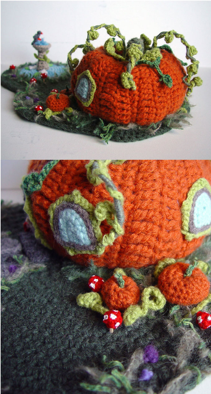 Crochet Pumpkin House 3 by meekssandygirl on DeviantArt