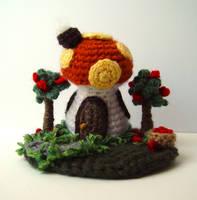 Mini Orange Mushroom House by meekssandygirl