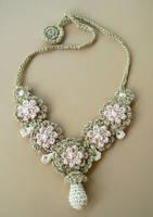 Crochet Silk Wedding Necklace by meekssandygirl