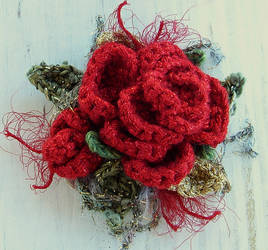 Crochet Brooch Red Rose Glitz by meekssandygirl