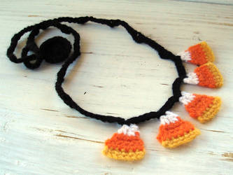 Candy Corn Necklace Crochet by meekssandygirl