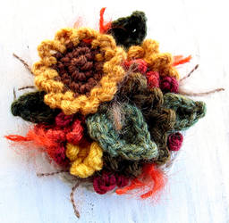 Crochet Sunflower Pin Brooch by meekssandygirl