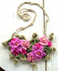 Crochet Bib Necklace Hot Pink Flowers by meekssandygirl