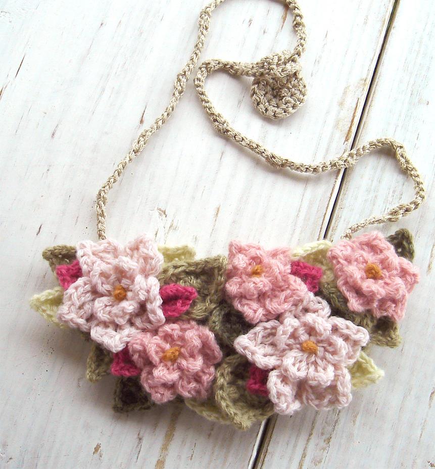Crochet Bib Necklace in Soft Pink Flowers by ...