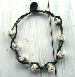 Crochet Necklace White Clover Flowers