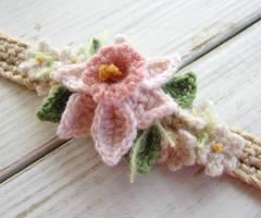 Crochet Pink Daffodil Bracelet