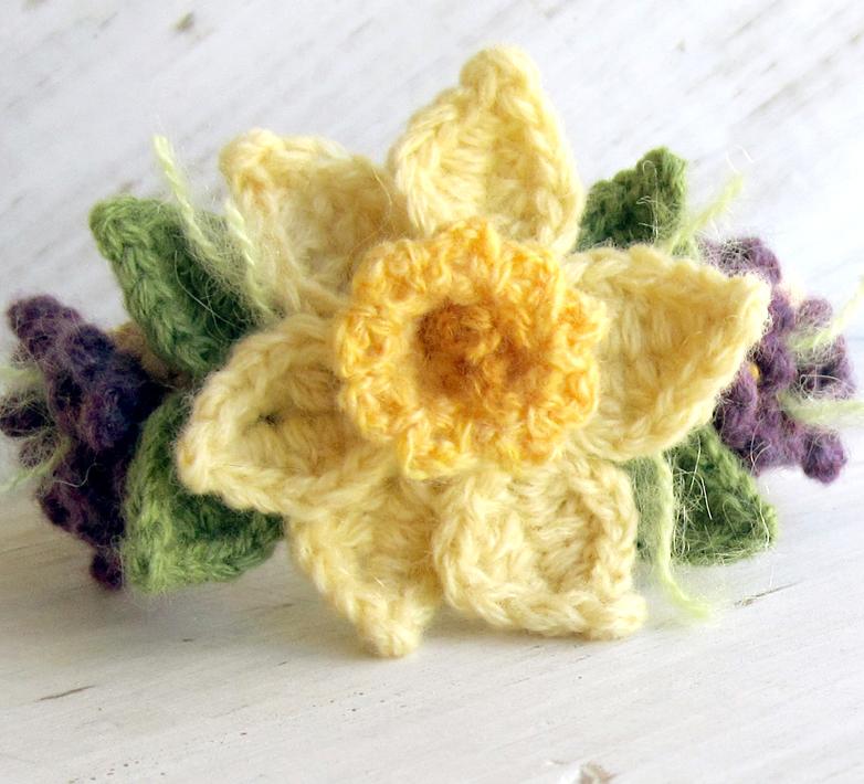 Free Pattern Crochet Daffodil : Crochet Daffodil Bracelet with Violets by meekssandygirl ...