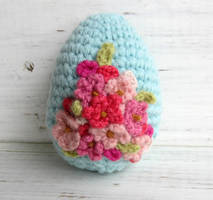Crochet Easter Egg Pink Flowers