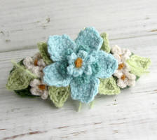 Crochet Hair Barrette Aqua Blue