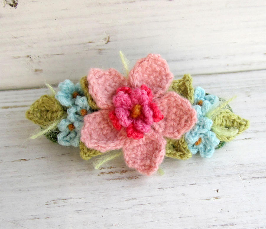 Crochet Hair Barrettes : Crochet Hair Barrette Pink with Blue Flowers by meekssandygirl on ...
