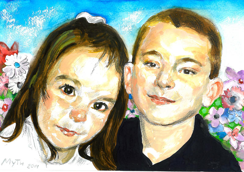 Portrait of children by Muti-Valchev