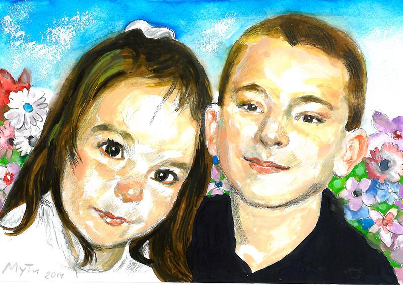 Portrait of children by Muti-Valchev