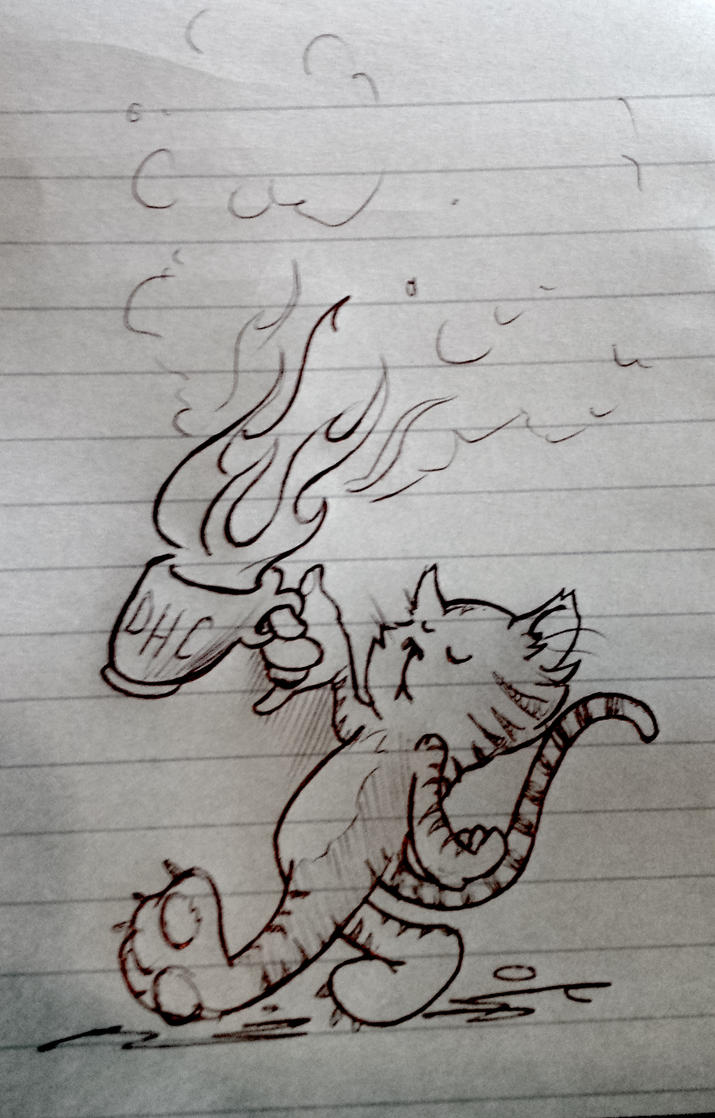Coffee Cat work doodle by mpatterson1979