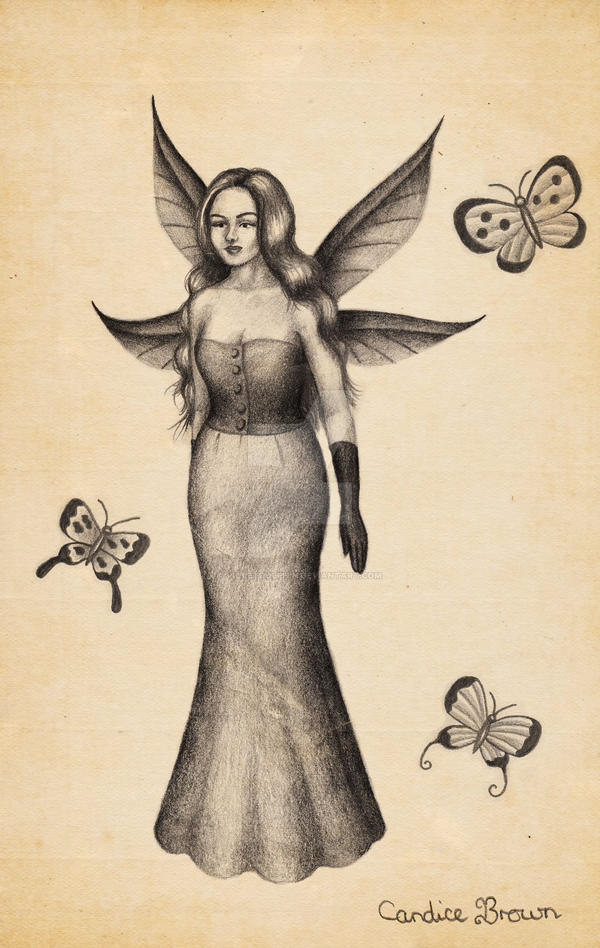 Butterfly Fairy Sketch by VioletDolphin