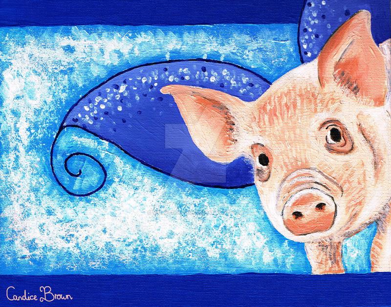 Piggy portrait I by VioletDolphin