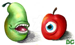 Biting Pear meets Staring Apple