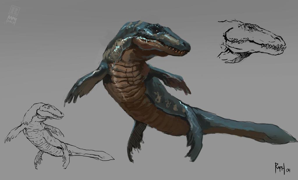 Animal study - Mosasaur by Raph04art