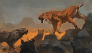 Dire Wolf pack vs. Sabertooth cat