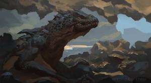 Dragon in a sea cave