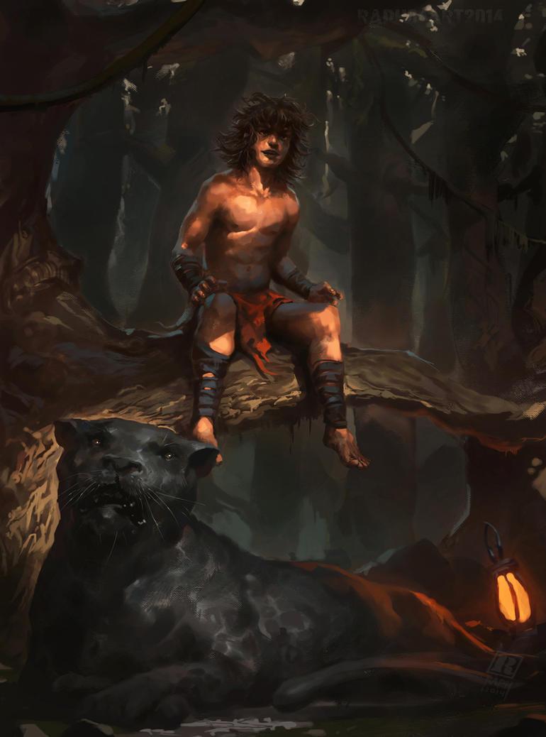 Mowgli and Bagheera by Raph04art