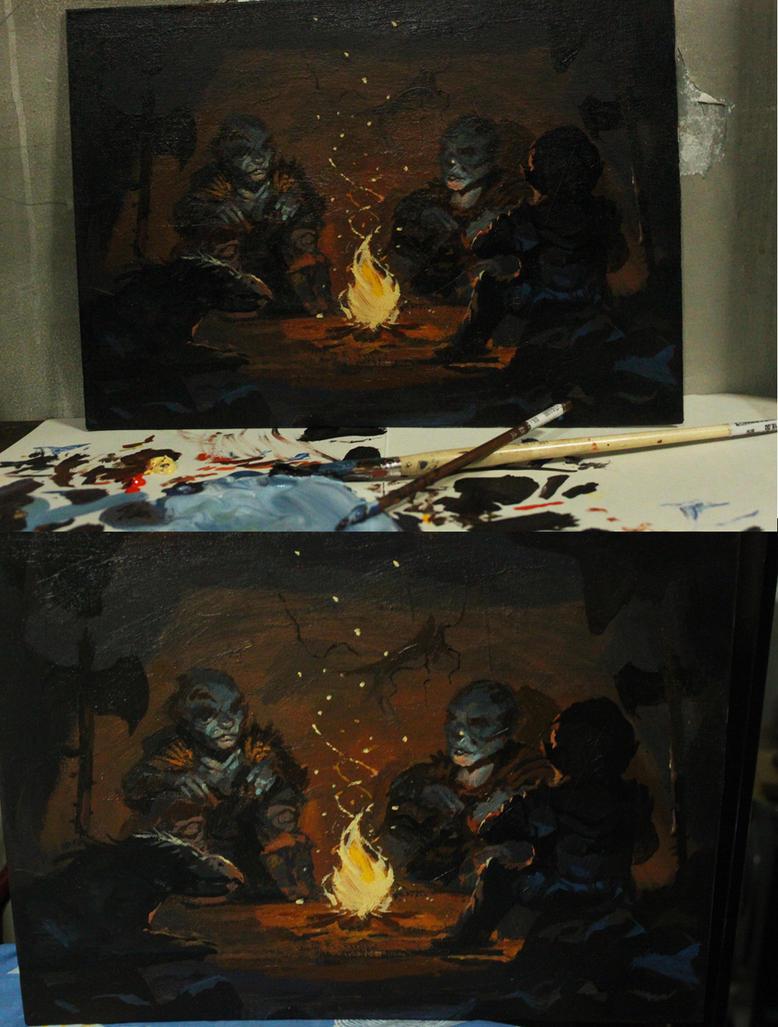 Acrylic orcs WIP 02 by Raph04art