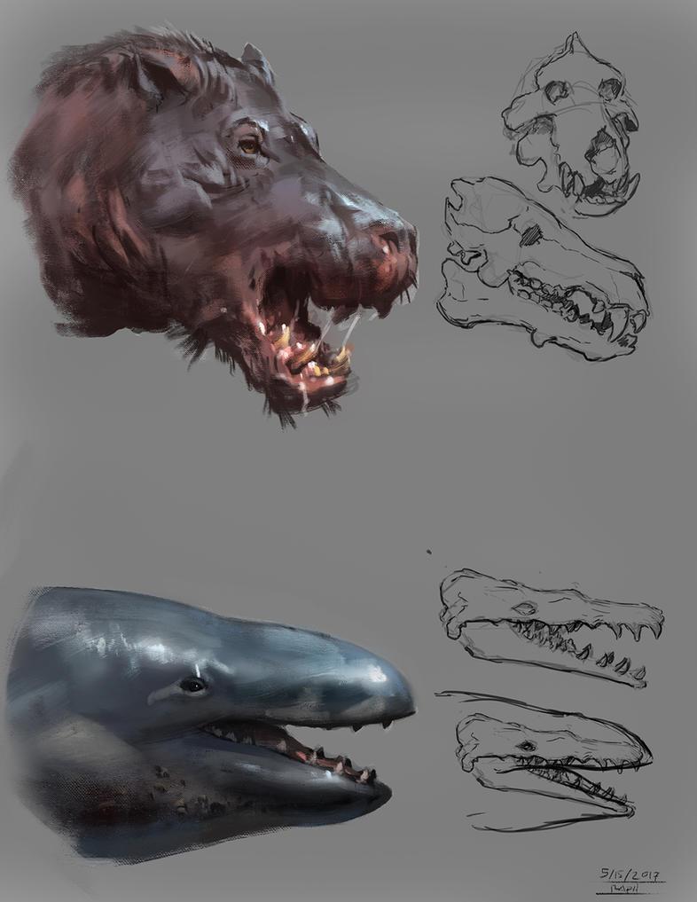 Critter Sketches: Daedon x Basilosaurus(zeuglodon) by Raph04art