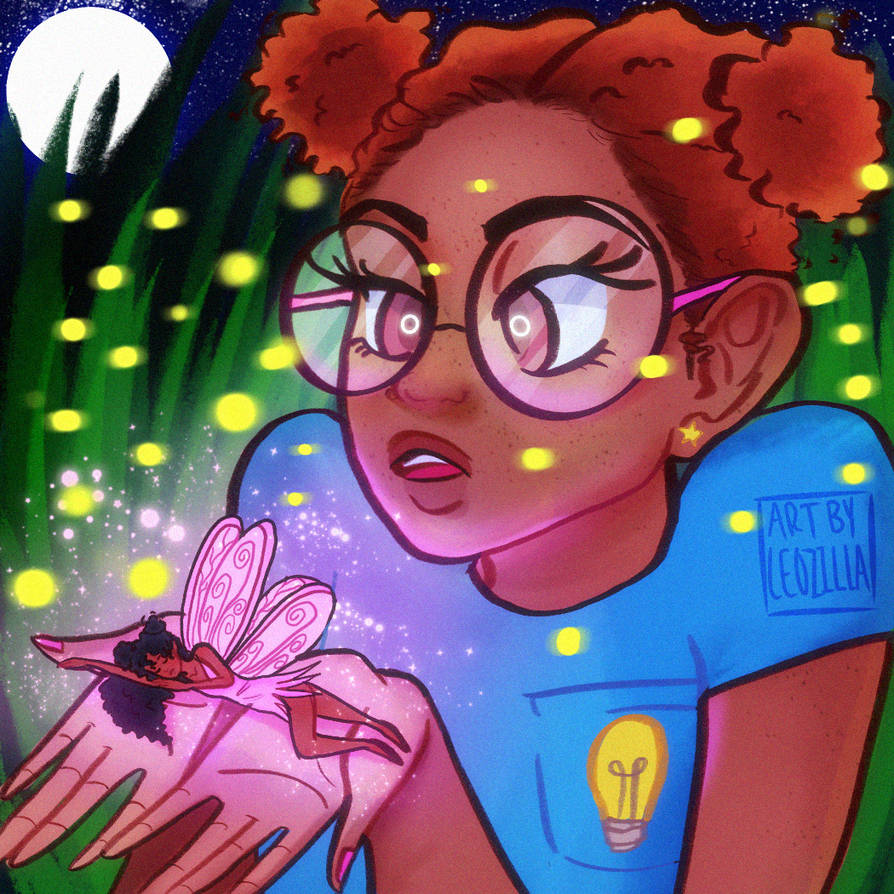 A Nerdy Girl Finds A Fairy In Her Backyard by artbyleozilla