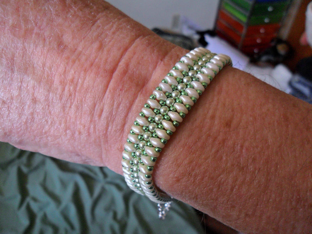 White And Green Bracelet by MadMother88