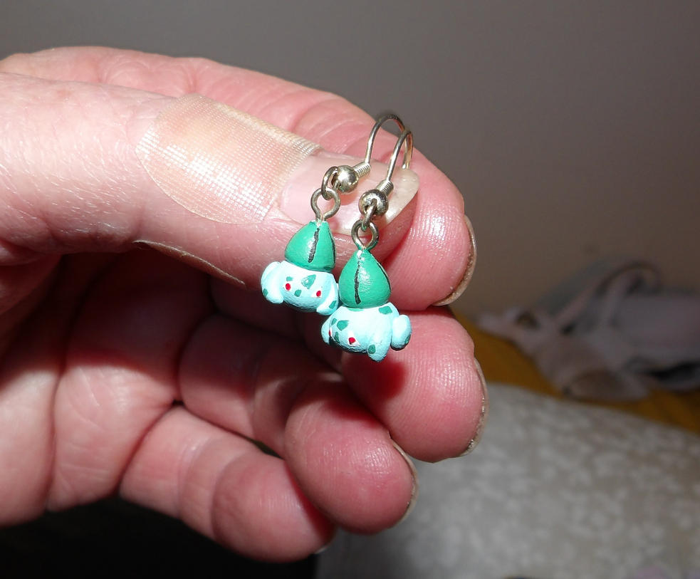 Bulbasaur Earrings by MadMother88