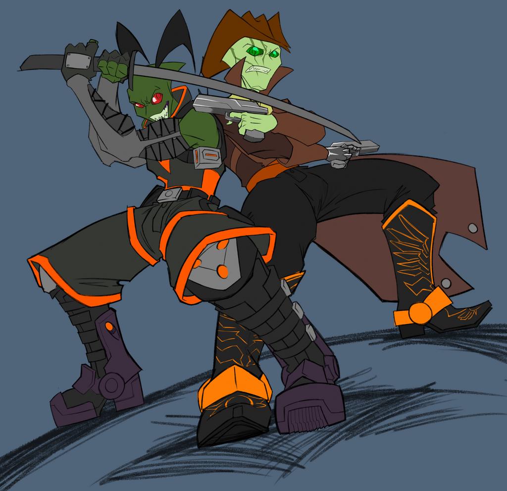 Ninja vs. Cowboy by PROtypeM3X on DeviantArt
