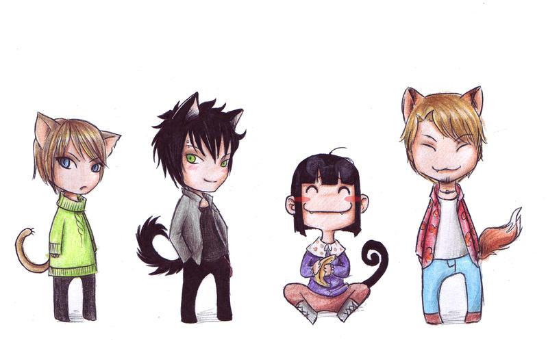 Cat, Dog, Monkey and Fox by Linaku