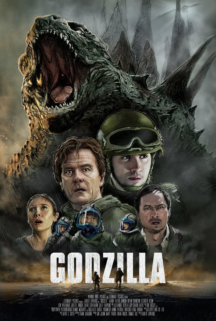 Godzilla 2014 poster by MarkButtonDesign