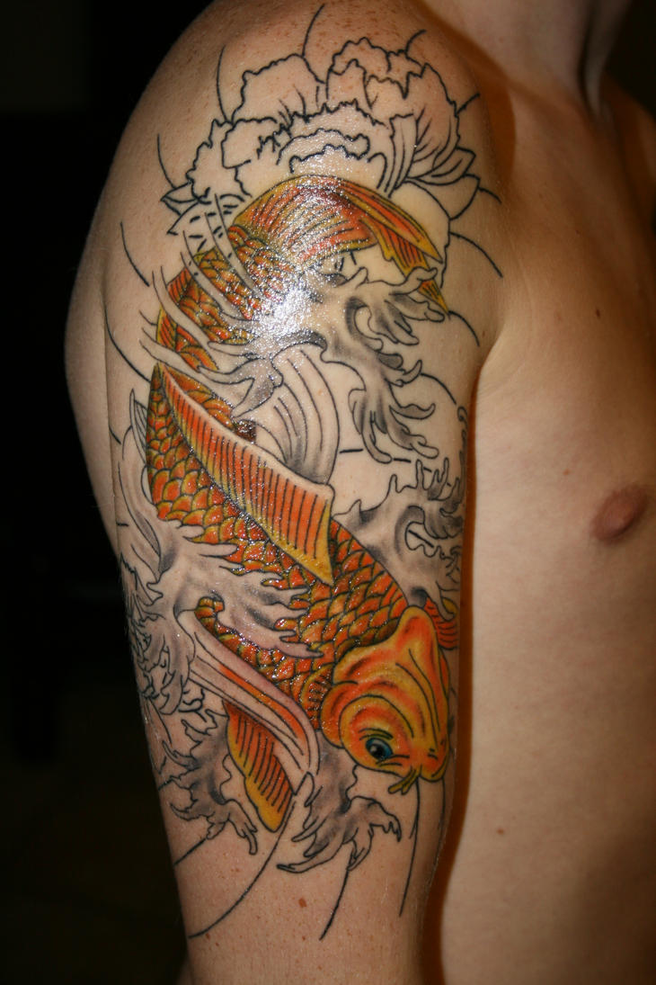 Koi tattoo coloured by aidan8500 on deviantart for Koi tattoo pics