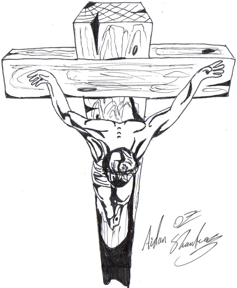 CHRIST ON THE CROSS by aidan8500 on DeviantArt  Jesus Christ On The Cross Drawings For Tattoos