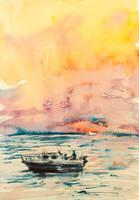 Sunset on sea by kovacsannabrigitta