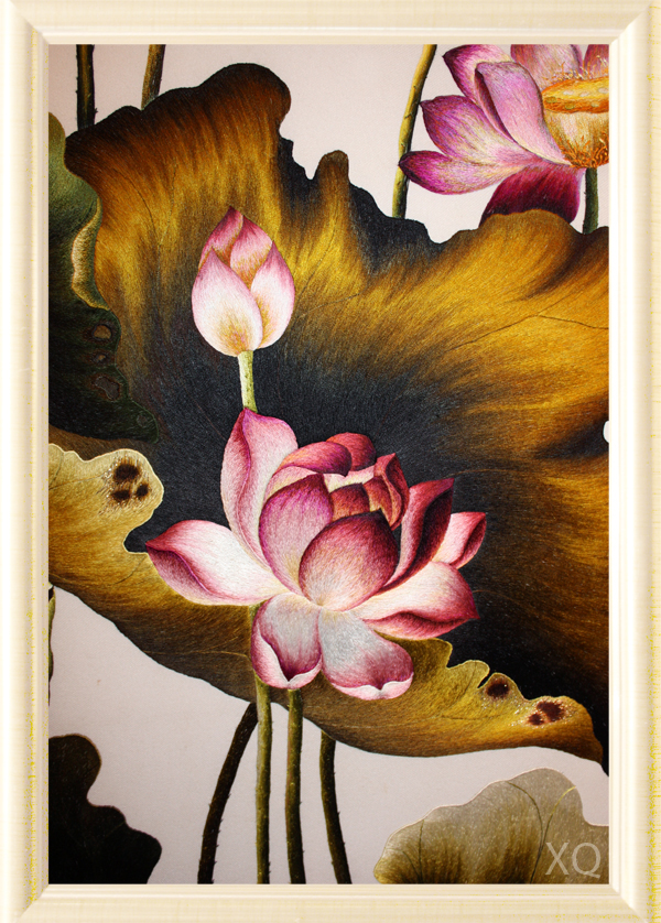 Lotus - Hand Embroidery by X-Q-Hand