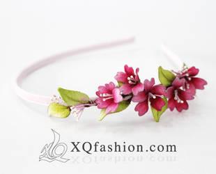 Cherry blossom hand embroidery headband by XQFashion