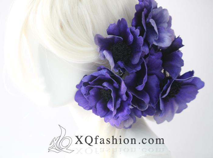 Anemone Hand Embroidery Hairpieces by XQFashion
