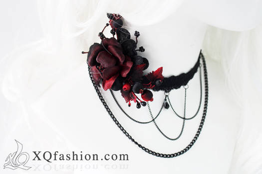 Gothic Hand Embroidery Necklace