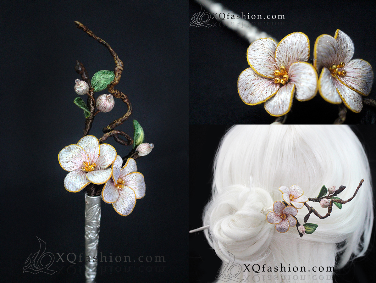 Hand Embroidery Cherry Blossom hairpin