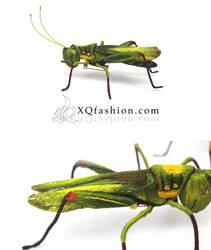 Hand Embroidery Grasshopper Brooch
