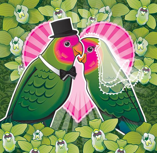 Wedding Invite - Lovebirds by bikle